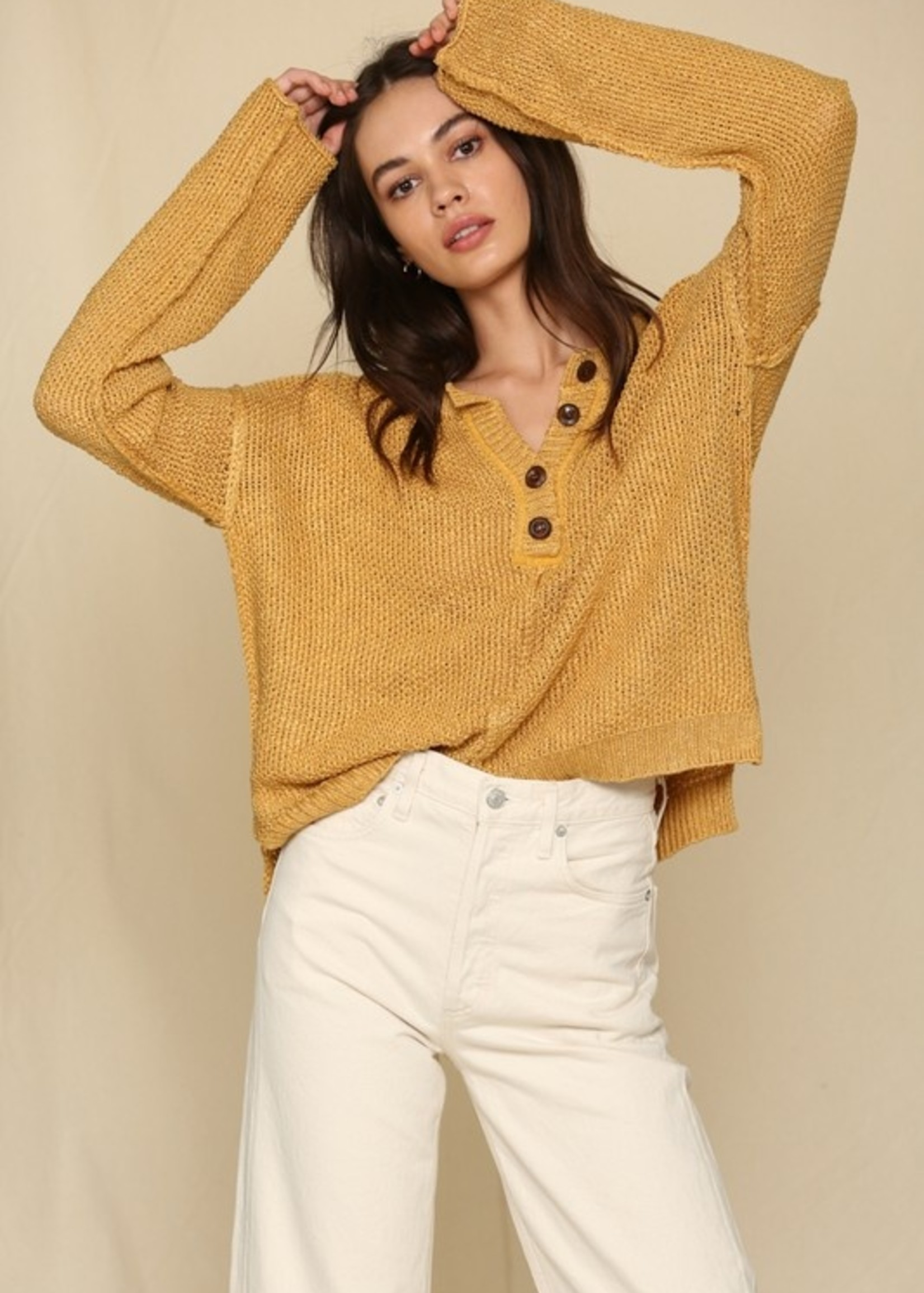 Knit Sweater with Buttons - Mustard