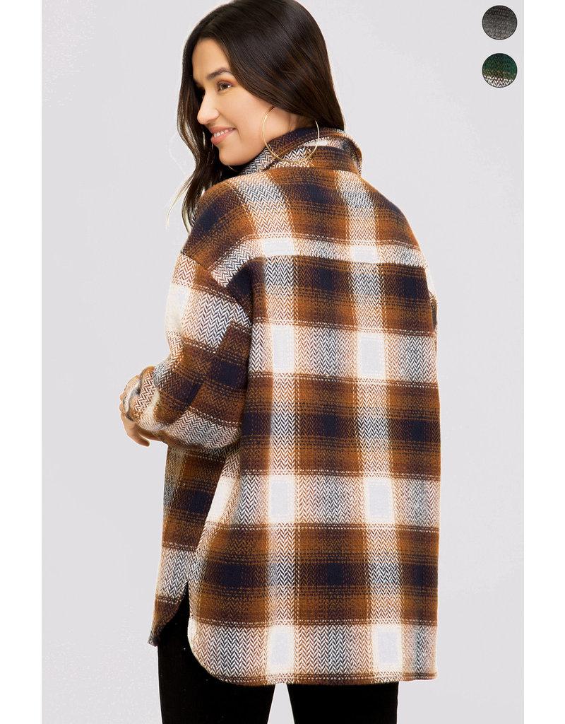 Plaid Shirt Jacket - Camel