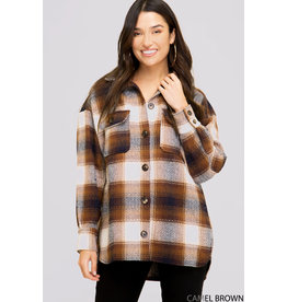 Plaid Shirt Jacket - Camel