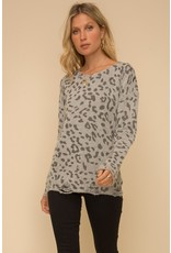 Leopard Sweater w/distressed hem