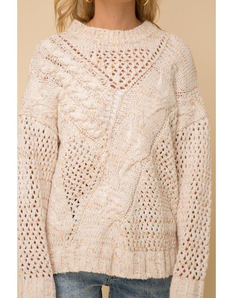Open Stitch Cable Chenille Sweater - Oatmeal Multi