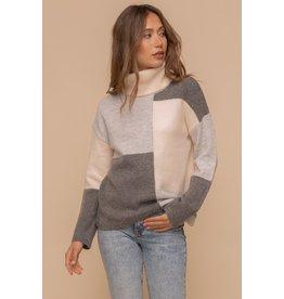 Color block Turtleneck Sweater - Grey Multi