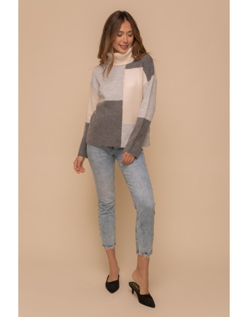 Color block Turtleneck Sweater - Grey Multi