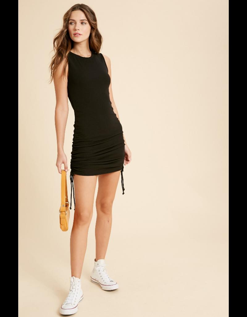 Ribbed Side Shirred Dress - Black