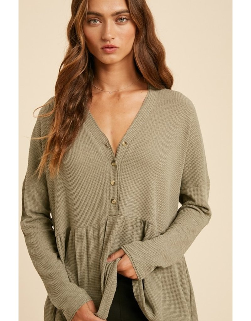 Themal babydoll button top - Dusty Olive