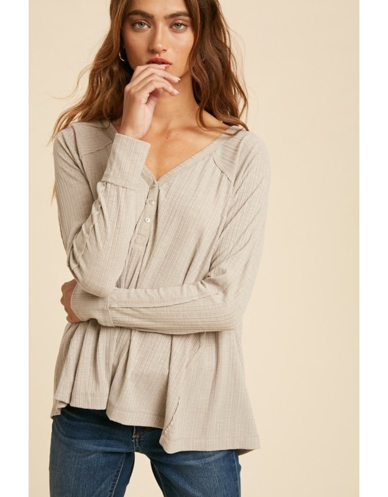Rib Henley Top - Taupe