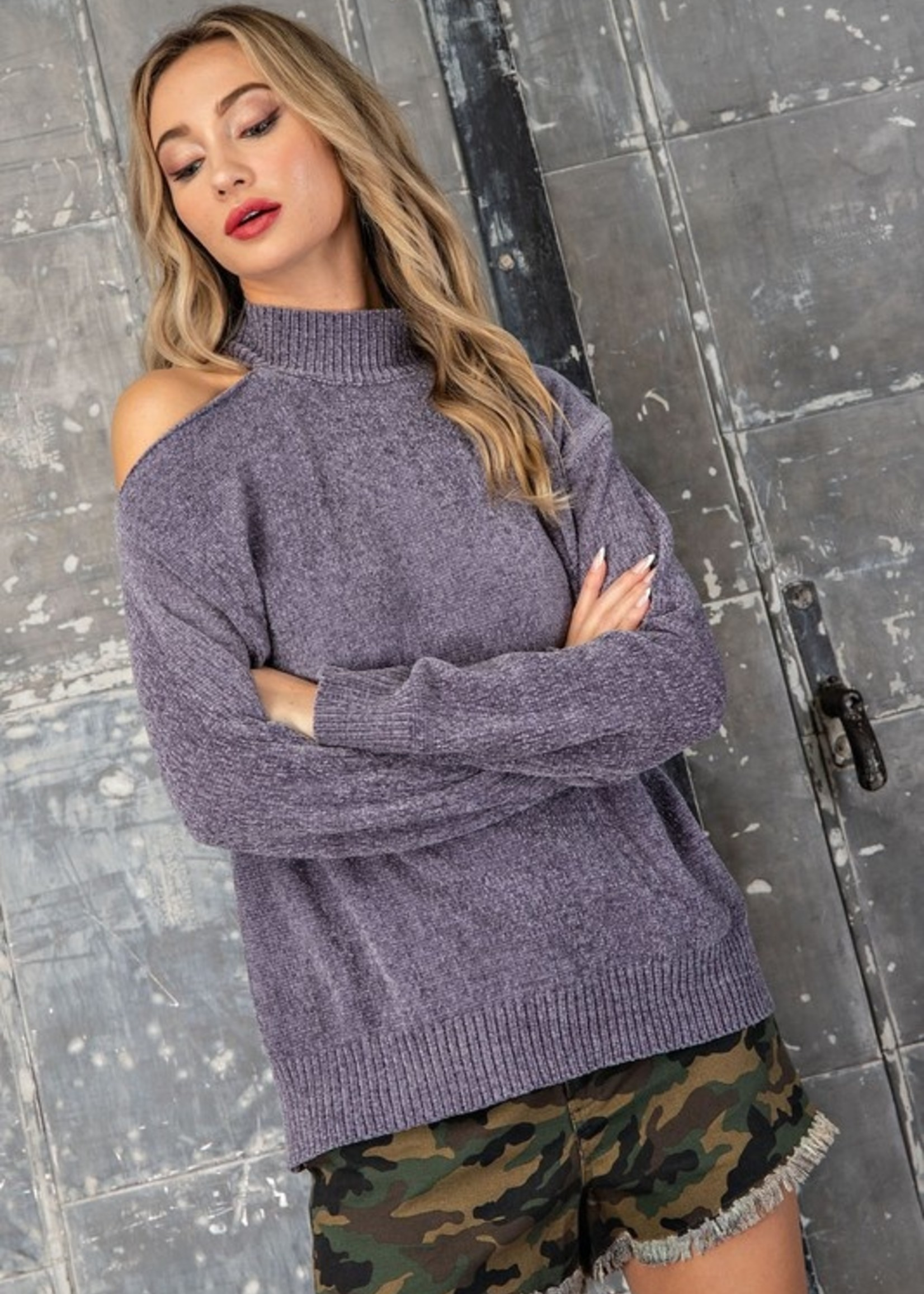 One Shoulder Sweater - Charcoal