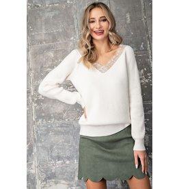 Lace Trim off shoulder sweater - Cream