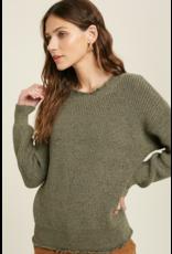 Raw Edge Sweater - Olive
