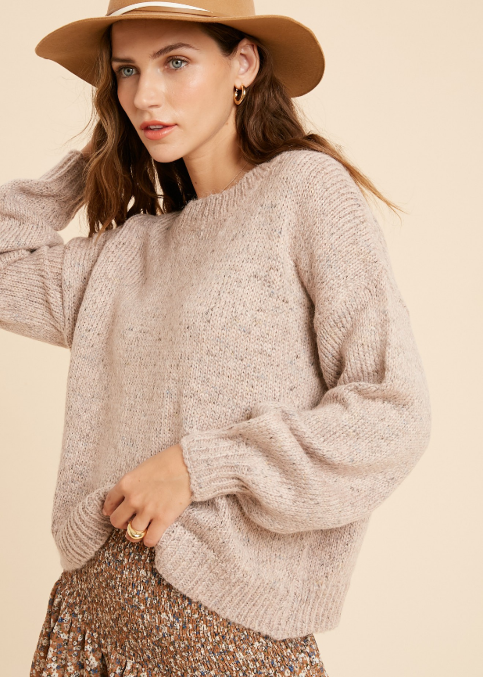 Multi Color Crewneck Sweater - Mauve
