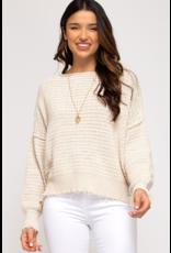 Textured Sweater with Raw Hem - Ecru