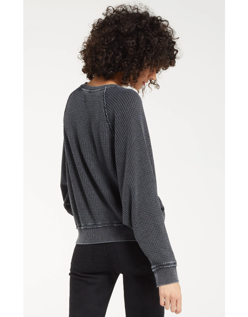 Z Supply Claire Waffle Long Sleeve - Onyx