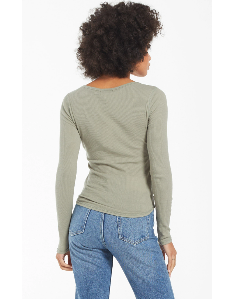 Z Supply Blaine Rib Henley - Meadow Green