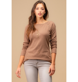 Rib Long Sleeve Top with Side Buttons - Mocha