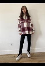 Plaid Shirt Jacket - Burgundy