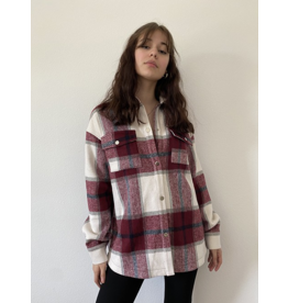 Plaid Shirt Jacket - Burgundy