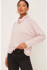 Ribbed  Sleeve Knit Cowlneck Top - Mauve