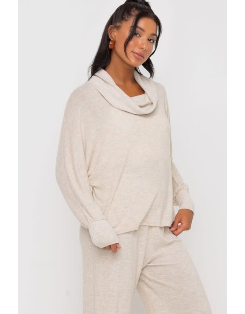 Long Sleeve Knit Cowlneck Top - Oatmeal