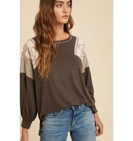 Contrast Sleeve Knit Top - Charcoal