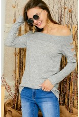 Hacci cut out sleeve off shoulder top - Heather Grey