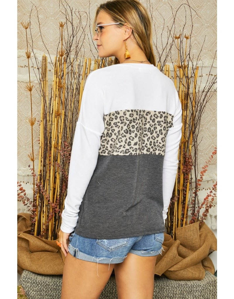French Terry Colorblock Leopard Contrast