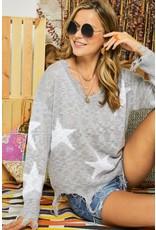 Star Distressed Sweater - Grey