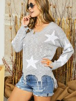 Star Distressed Sweater - Grey