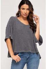 Half Sleeve V Neck Thermal - Grey