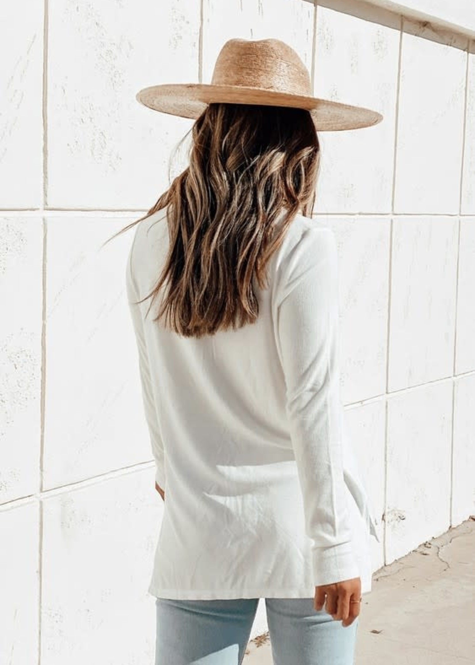 Bamboo Micro Rib Long Sleeve - White