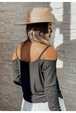 Bamboo Micro Rib Knit Off Shoulder - Black