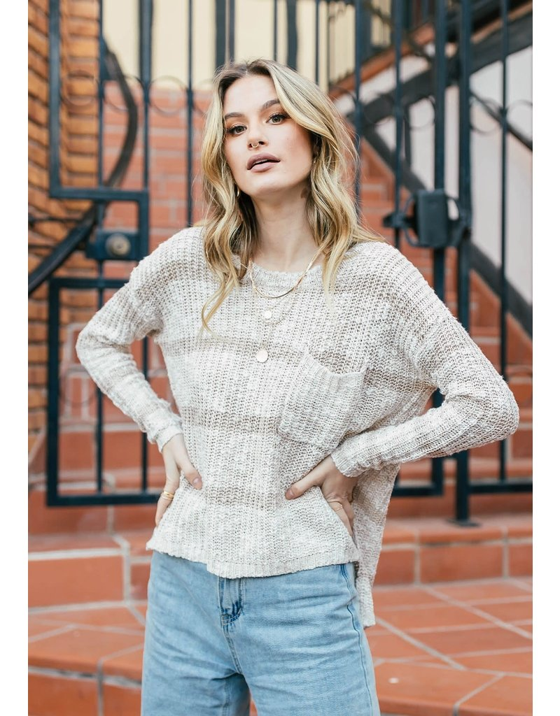 Striped Pullover Sweater - Oatmeal/Ivory