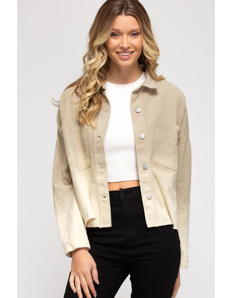 Dip Dye Ombre Jacket - Taupe