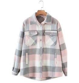 Plaid Shacket - Pink