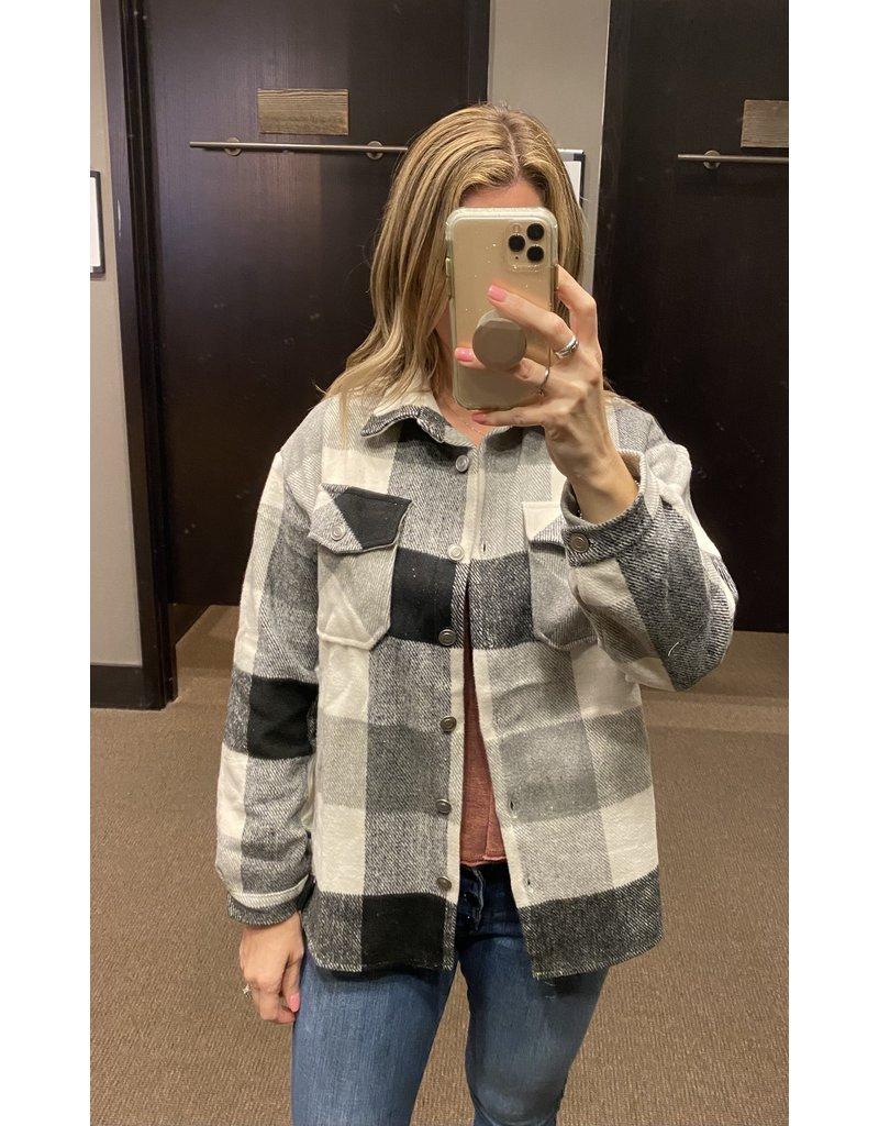 Plaid Shacket - Grey