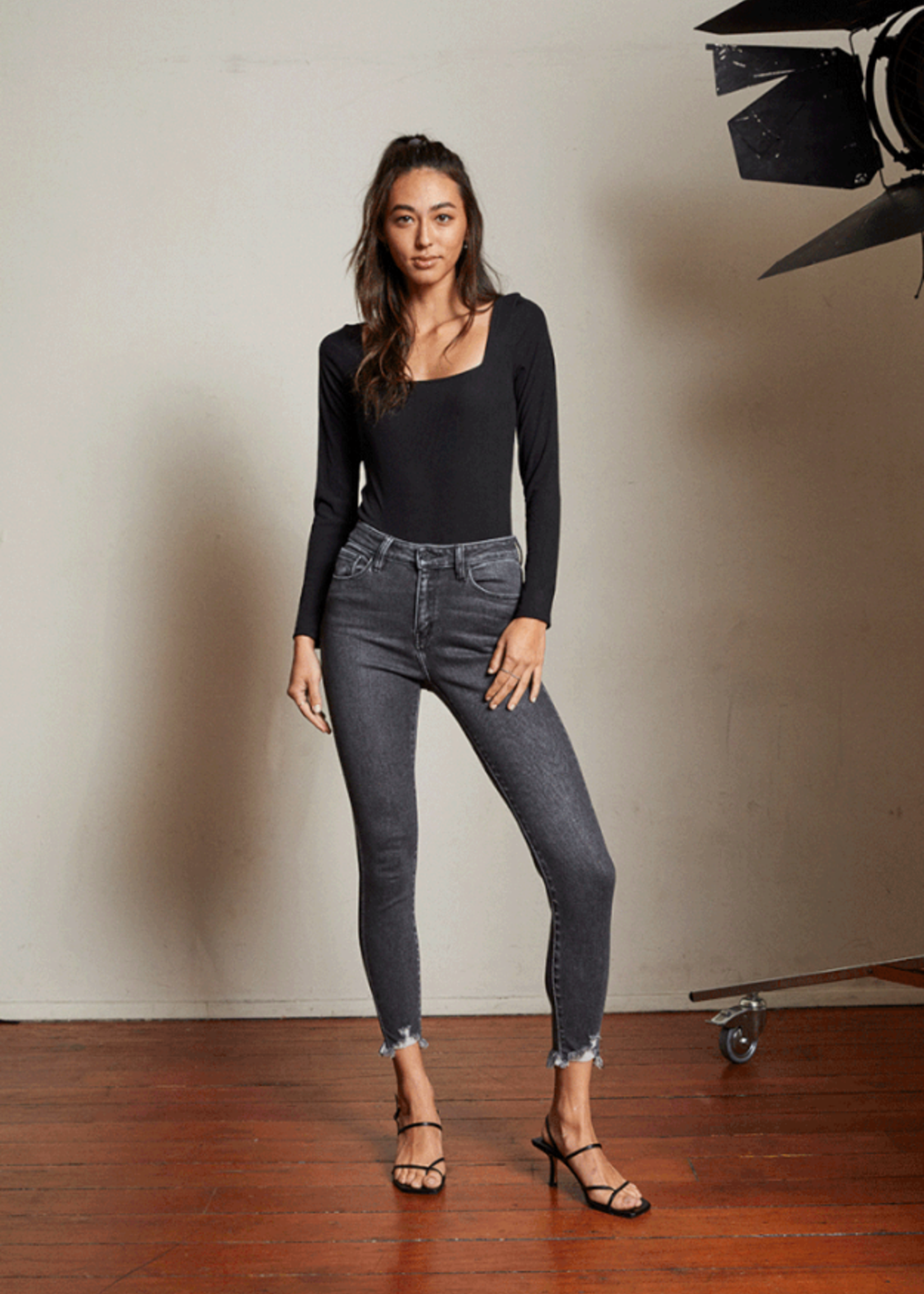 Kan Can High Rise Ankle Skinny - Washed Black