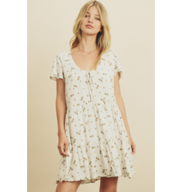 Daisy Print Mini Dress - Cream/Olive
