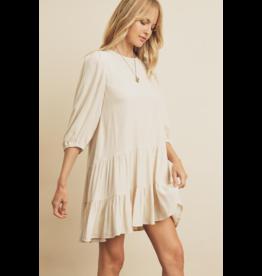 Tiered 3/4 sleeve Mini Dress - Ecru