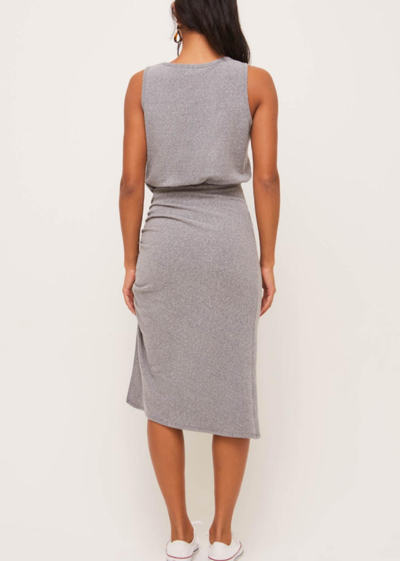 Lush Side Ruched Dress - Charcoal