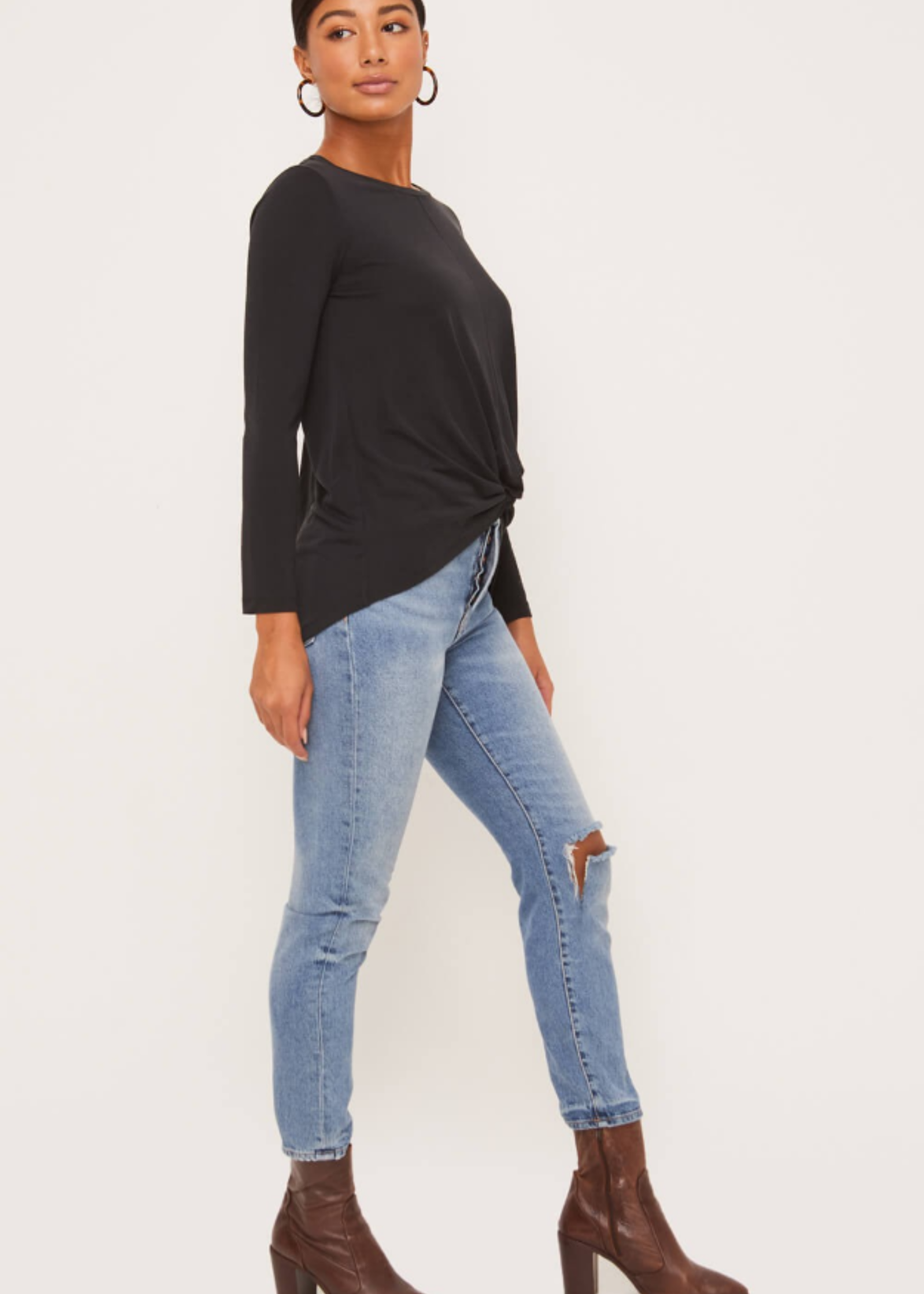 Lush Front Knot Top - Black