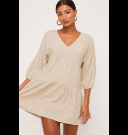 Lush Long Sleeve Ribbed V Neck Dress - Oatmeal