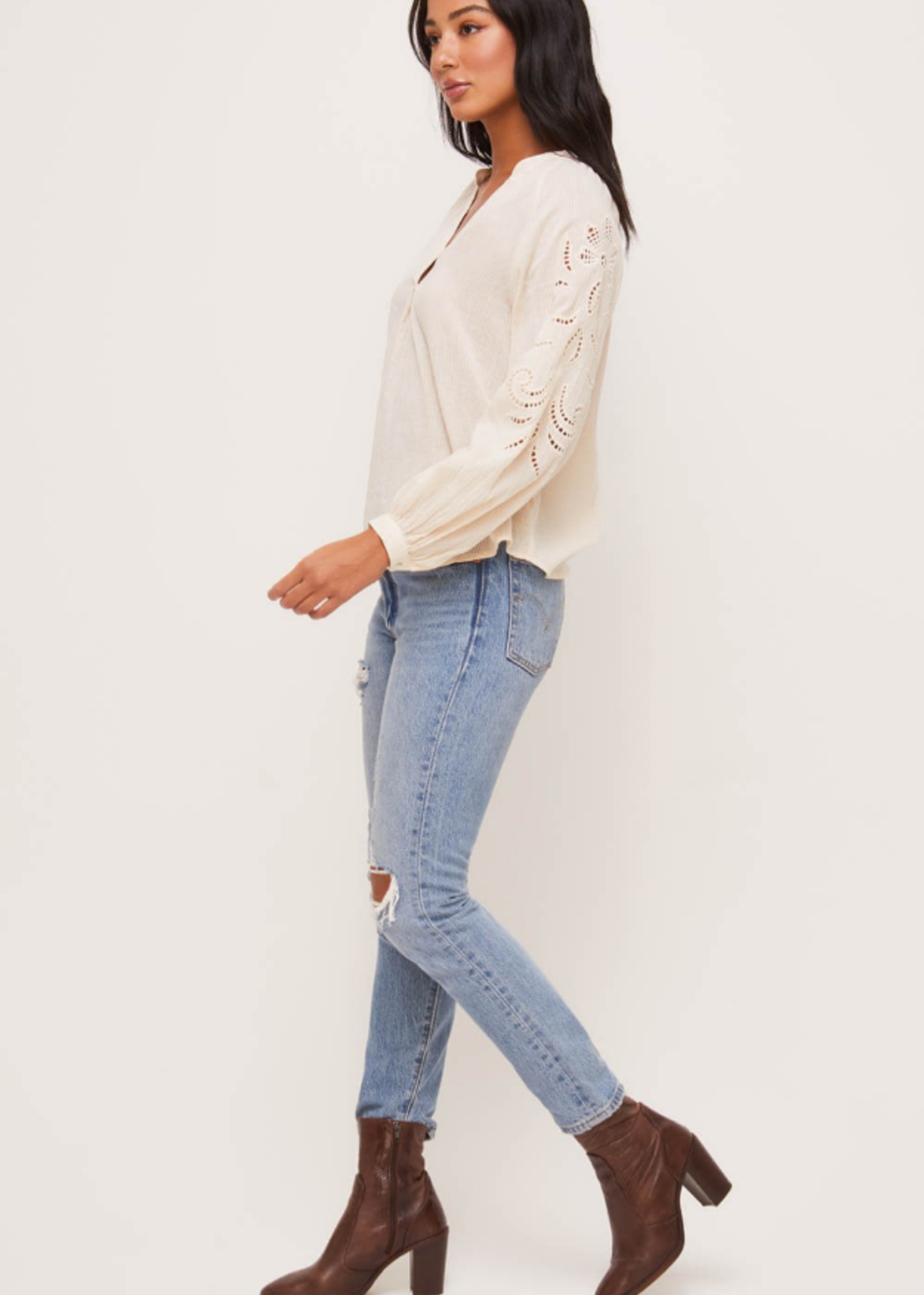 Lush Lace Embroidered Top - Cream