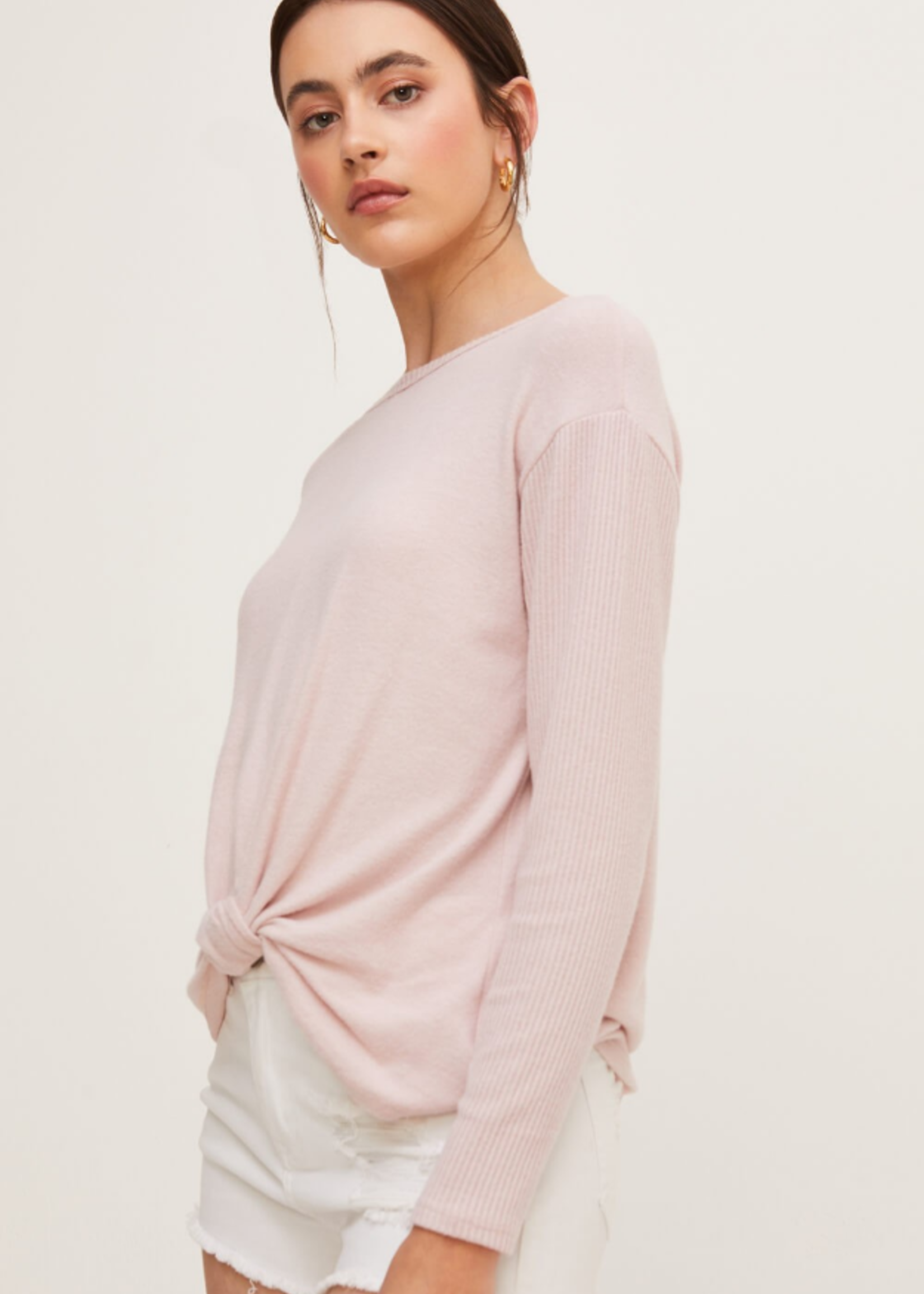 Lush Long Sleeve Top with Bottom Twist - Mauve