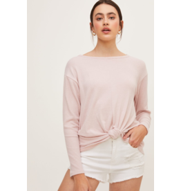 Lush Long Sleeve Top with Bottom Twist - Mauve