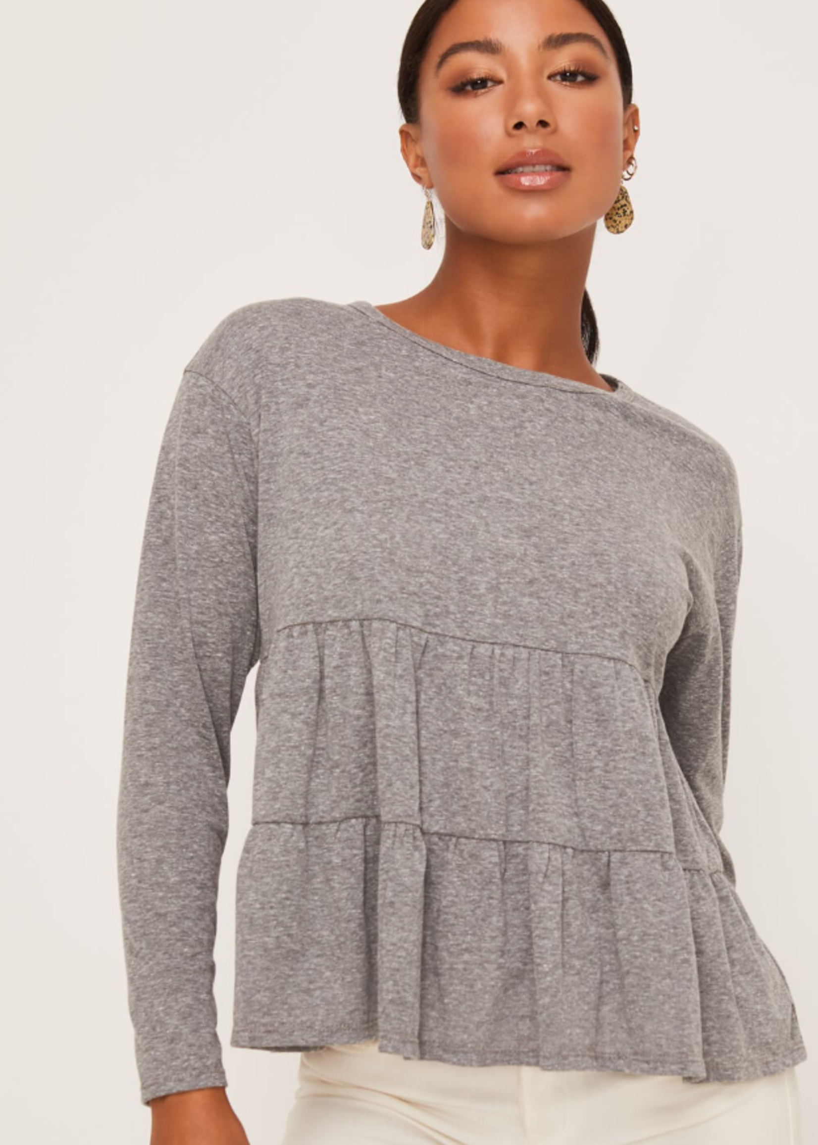 Lush Long Sleeve Tiered Top - H. Grey