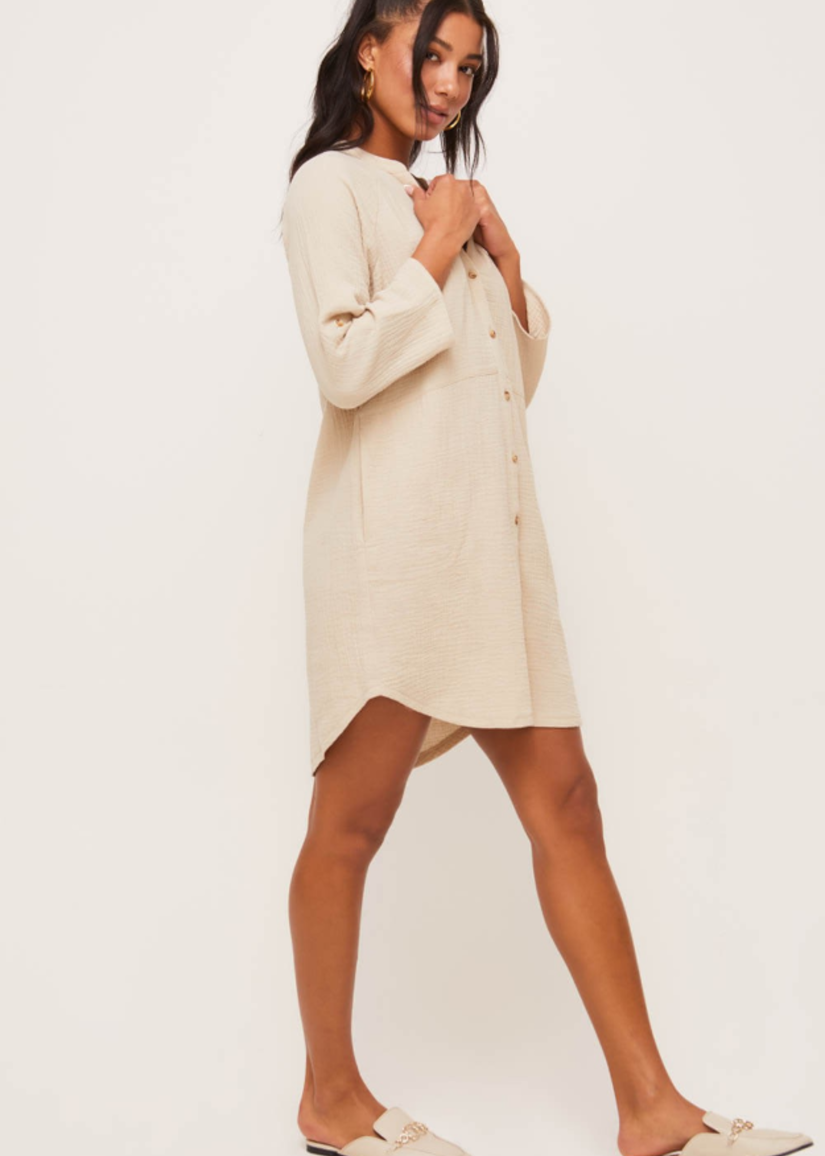 Lush Button Down Dress - Taupe