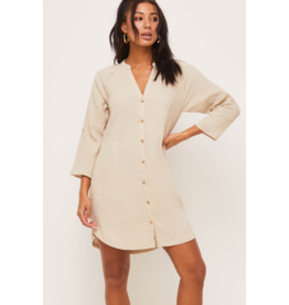 Lush Button Down Dress - Taupe