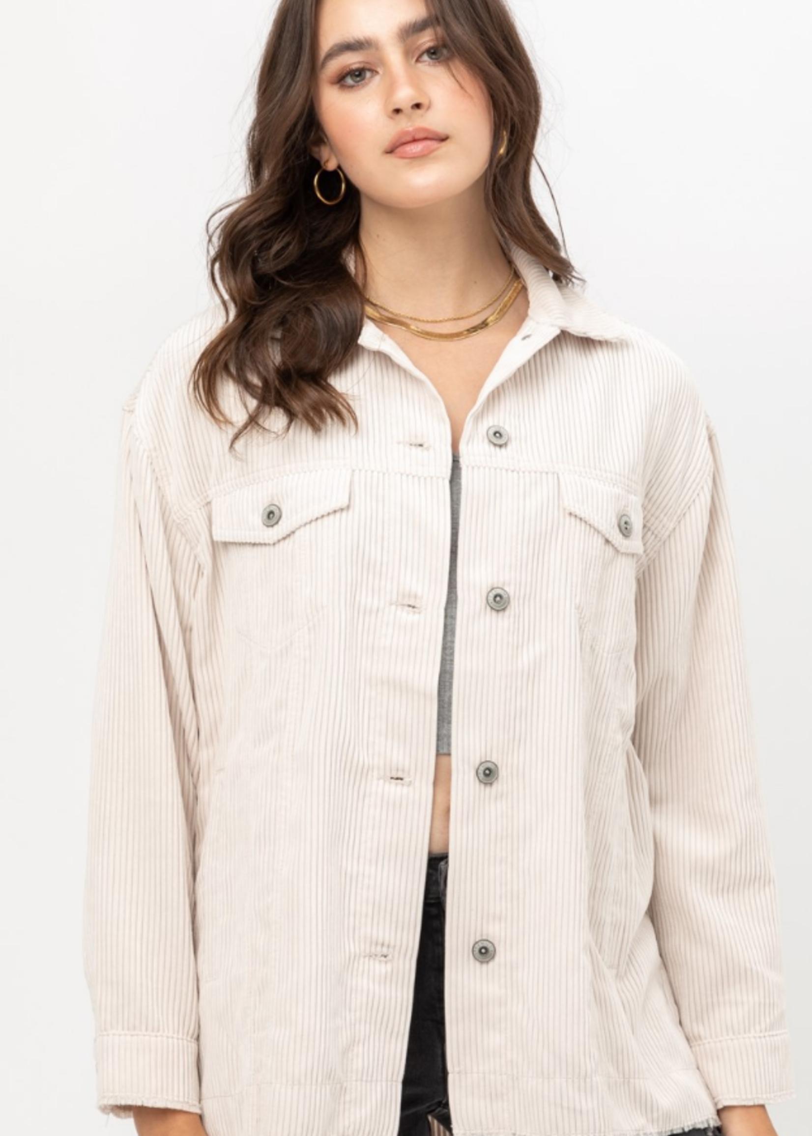 Cord Shirt Jacket - Cream
