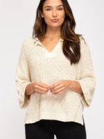 3/4 Roll Up Sleeve Sweater - Natural