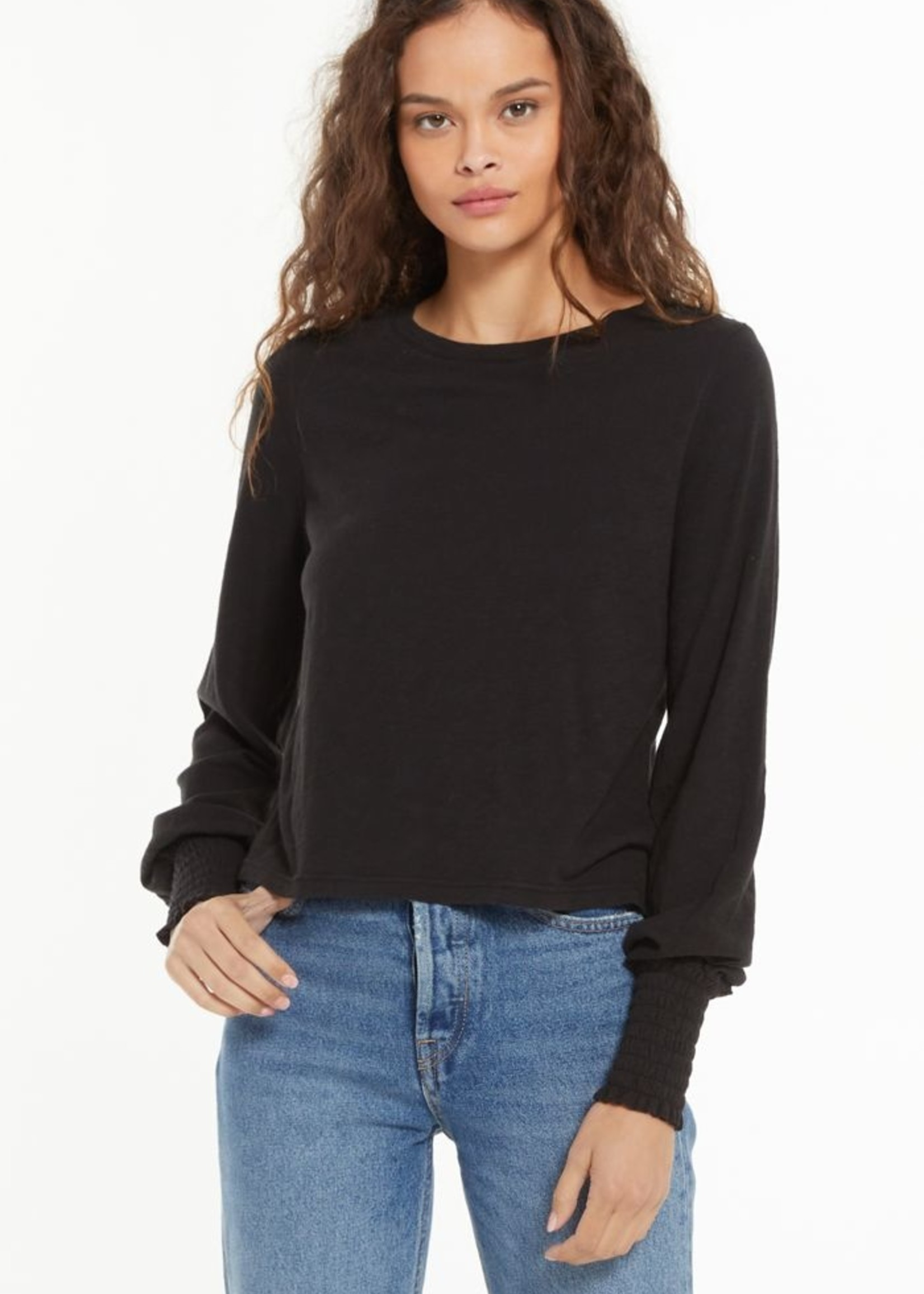 Z Supply Lyla Slub Long Sleeve - Black