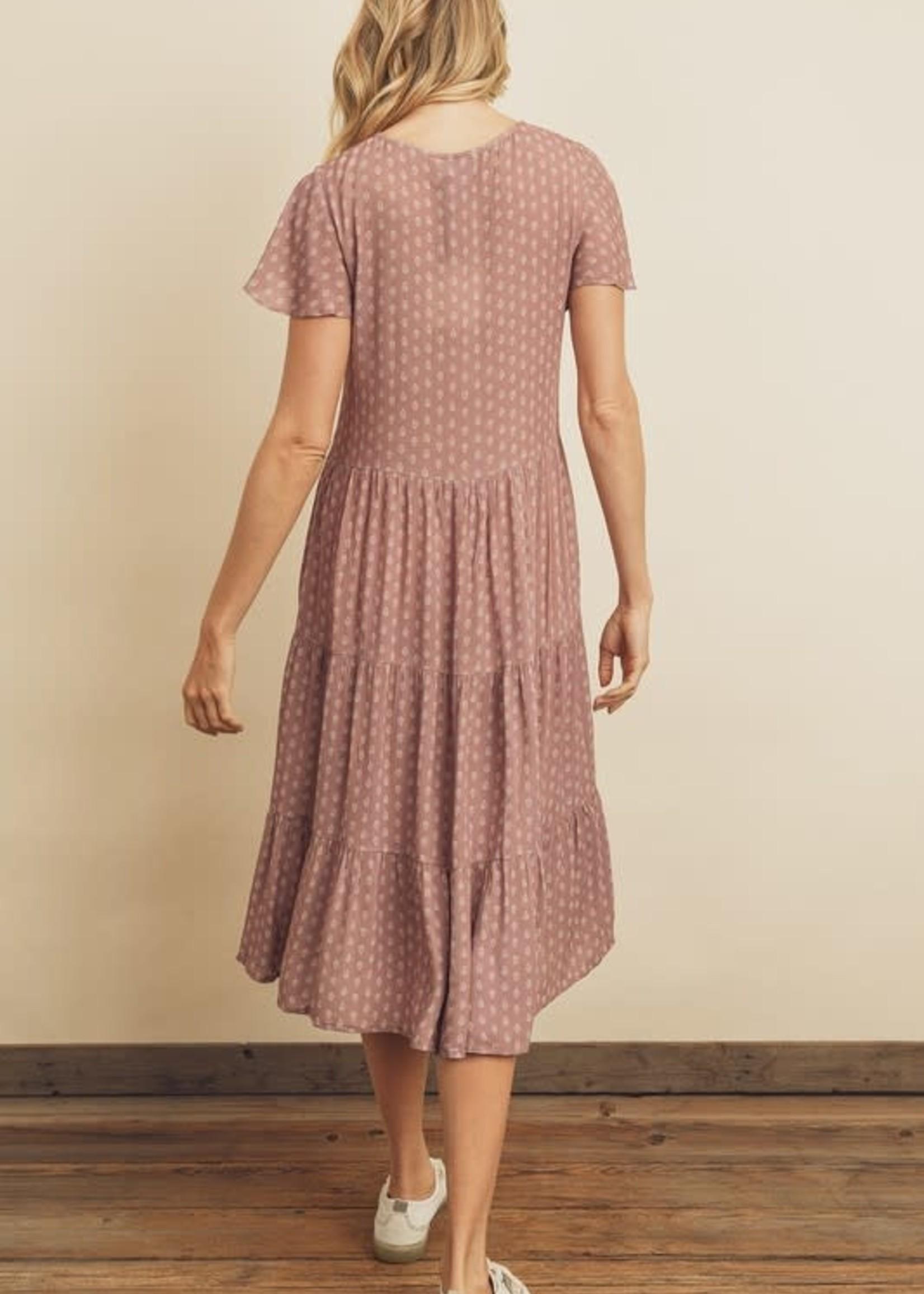 Paisley Dot Flutter Sleeve Midi Dress - Mauve